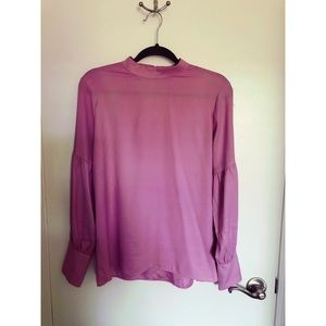 Loft - Mock Neck Balloon Sleeve Blouse